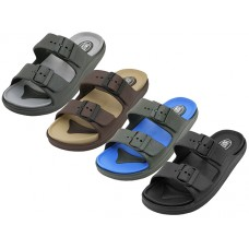 S2710-M - Wholesale Men's Super Soft Double Strap With Side Buckle Upper Sandals ( *Asst. Black/Black. Beige/Brown, Royal/Black And Gray/Black )