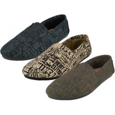 "S308M-LETTER Wholesale Men's ""EasyUSa"" The Most Comfortable Slip On Casual Canvas Shoe ( *Asst. Letter Print )"