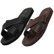 S311-M - Wholesale Men's X-Band Pu Slippers ( *Asst. Black And Brown )