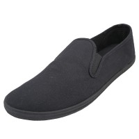 S316M-BB - Wholesale Men's twin Gore Casual Canvas Shoes ( *Black Color )