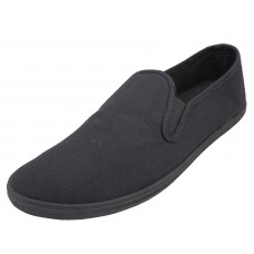 "S316M-BB - Wholesale Men's ""EasyUSA"" Slip On Twin Gore Upper Casual Canvas Shoes ( *Black Color ) *Available In Single Size"