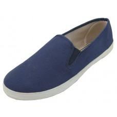 S316M-NAVY Wholesale Men's Twin Gore Casual Canvas Shoes ( * Navy Color )