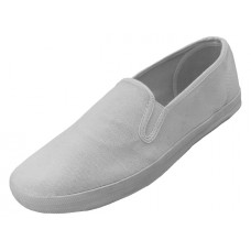 "S316M-W Wholesale Men's ""EasyUSA"" Slip On Twin Gore Upper Casual Canvas Shoes ( *White Color ) *Available In Single Size"
