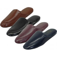 "S319-M - Wholesale Men's ""EasyUSa"" Soft Vinyl Upper Close Toe Open Back Comfortable House Slippers ( *Asst. Black Navy Brown & Burgundy  )"