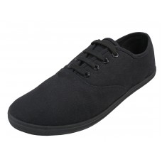 "S324M-BB  - Wholesale Men's ""EasyUSA"" Casual Canvas Lace Up Shoes ( *Black Color ) *Available In Single Size"