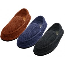 "S329M-P - Wholesale Men's ""EasyUSA""  Corduroy All Close House Slippers  ( *Asst. Black Navy & Brown )"