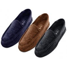 "S329M-P - Wholesale Men's ""EasyUSA""  Corduroy House Shoes ( *Asst. Black Navy & Brown )"