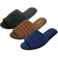 "S333-M - Wholesale Men's ""EasyUSA"" Cotton Terry Upper Open Toe House Slippers ( *Asst. Black Brown & Navy )"