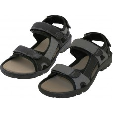 S3700-M - Wholesale Men's Double Velcro PU Sandals ( Asst. Black And Gray )