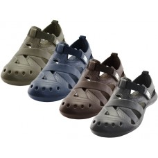 S3903-M - Wholesale Men's Walking Light Weight Velcro Sandals ( *Asst.  Black Navy Brown And Khaki )