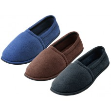 "S4049-M - Wholesale Men's ""EasyUSA"" Cotton Terry Upper Close Toe And Close Back House Shoes ( *Asst. Black Brown & Navy ) *Available In Single Size"