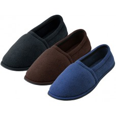 S4049-M - Wholesale Men's Cotton Terry House Shoes ( *Asst. Black Brown & Navy )
