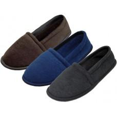 S4049-M - Wholesale Men's Cotton Terry House Shoes ( *Asst. Black Brown & Navy )