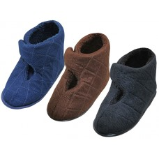 S4055-M - Wholesale Men's Corduroy Velcro Wrap All Close House Slippers ( *Asst. Black Brown & Navy )