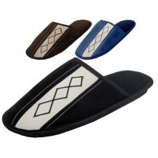 S500M-P - Wholesale Men's Velour Bed Room Slippers ( *Asst. Black Brown & Navy )