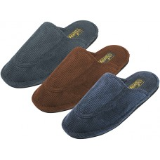 S555M-P - EasyUSA Men's Cotton Corduroy Upper Close toe House Slippers ( *Asst. Black Navy & Brown )