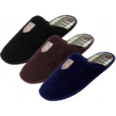 S599M-P - EasyUSA Men's Cotton Corduroy With Emboidery Upper House Slippers ( *Asst. Black Brown & Navy )