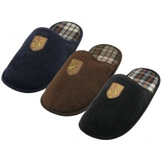 "S599M-P - EasyUSA Men's ""EasyUSA"" Cotton Corduroy With Emboidery Upper House Slippers ( *Asst. Black Brown & Navy )"