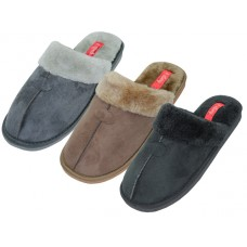 "S6288-M - Wholesale Men's ""EasyUSA"" Velour Upper with Faux Fur Cuff House Slippers ( *Asst. Black Brown & Gray )"