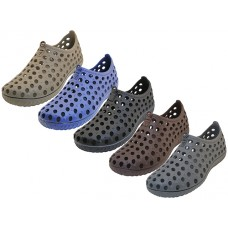 "S7790-M Wholesale Men's ""Wave"" Soft Light Weight Hollow Upper Shoes ( *Asst. Black, White, Khaki, Navy, Gray And Brown )"