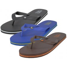 "S8069-M - Wholesale Men's ""EasyUSA"" Soft Comfortable Rubber ZorI / Flip Flops ( *Asst. Black Navy & Brown ) *Available in Single Size S-XL"