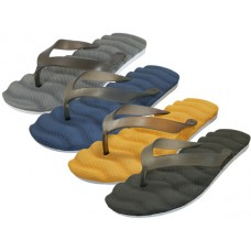 "S8070-M - Wholesale Men's ""EasyUSA"" Soft Comfy Wave Bed Flip Flops ( *Asst. Black Navy Brown And Yellow )"