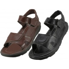 S9702-M - Wholesale Men's Pu. Leather Upper Velcro Sandals ( *Asst. Black And Brown ) *Close Out $3.00/Pr Case $72.00