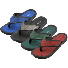 "M9919 - Wholesale ""EasyUSA"" Men's Soft Comfortable Gel Insole Thong Sandals ( *Asst. Black Blue Green And Red )"