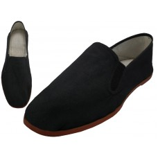 T2-111-M - Wholesale Men's Slip On Twin Gore Cotton Upper With Rubber Out Sole  Kung Fu/Tai Chi Shoe ( *Black Color )