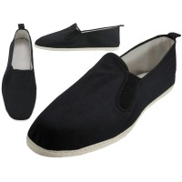 T2-303-M - Wholesale Men's Slip On Twin Gore Cotton Upper & White Cotton Out Sole Kung Fu/Tai Chi Shoes ( *Black Color ) *Available In Single Size