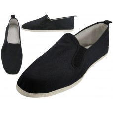 T2-303-M - Wholesale Men's Slip On Twin Gore Cotton Upper & White Cotton Out Sole Kung Fu/Tai Chi Shoes ( *Black Color )