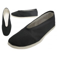 T2-606-M - Wholesale Men's Slip On V-Top Cotton Upper & White Cotton Out Sole Kung Fu/Tai Chi Shoes ( *Black Color )
