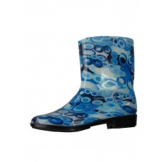 "RB-98 Wholesale Women's ""EasyUSA"" Water Proof Ankle Height Soft Rubber Rain Boots ( *Blue Print ) *Last Case"