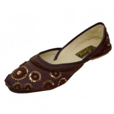 8-4800-T Wholesale Women's Satin Quilted Shoes With Sequin ( *Brown Color ) *Close Out $2.50/Pr Case $45.00