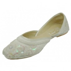 8-4800-W Wholesale Women's Satin Quilted Shoes With Sequin ( *White Color ) *Close Out $2.50/Pr Case $45.00