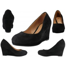 "91943L-B Wholesale Women's Microsuede 3¼"" Wedge Shoes ( *Black Color ) *Close Out $5.50/Pr Case $66.00"