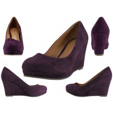 "91943L-P- Wholesale Women's Microsuede 3¼"" Wedge Shoes ( *Purple Color ) *Close Out $5.50/Pr Case $66.00"
