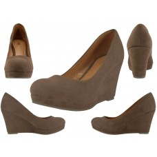 "91943L-T Wholesale Women's Microsuede 3¼"" Wedge Shoes ( *Taupe Color ) *Close Out $5.50/Pr Case $66.00"