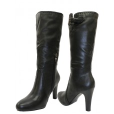 "B698-L - Wholesale Women's Faux Leather Boots With 11½"" Shaft and Side Zipper *Close Out $6.50/Pr Case $52.00"