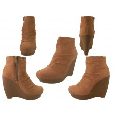 "BL-6342-Camel - Wholesale Women Micro Suede Side Zipper Boot With 4½"" Wedge ( *Camel Color ) *Close Out $3.00/Prs Case $36.00"