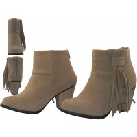 BL-6353-C - Wholesale Women's Micro Suede 2½ Inches Heel & Side Fringe Ankle High Boots ( *Beige Color )