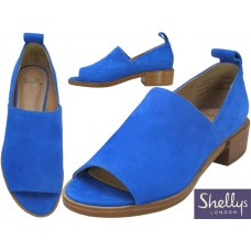 "FLORENZ-6 - Wholesale Women's ""Shelly's London"" Blue Suede Slip on Open Toe Heel Sandals ( *Royal Blue Color ) *Close Out $5.00/Pr Case $45.00 *Last Case"