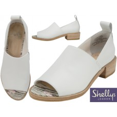 "FLORENZ-70 - Wholesale Women's ""Shelly's London"" Leather Upper Slip on Open Toe Heel Sandals ( *White Color )"