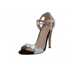 "GEMMA-01 Wholesale Women's ""Mixx Shuz"" High Heel Ankle Strip Sandals ( *Silver on Black Color )"