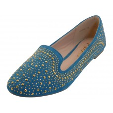 "GLORIA-TEAL Wholesale Women's ""Angeles Shoes"" Studded Ballet Flats ( *Teal Color ) *Last Case"