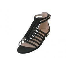 "LAUREN-01-BK - Wholesale Women's ""Mixx Shuz"" Gladiator With Tassel Flat Sandals ( *Black Color )"