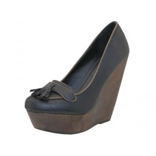 "LOLA-BLACK Wholesale Women's ""Angeles Shoes"" High Platform Wedge ( *Black Color ) *Last 2 Case"
