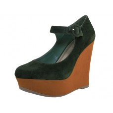 "LOLITA-GREEN Wholesale Women's ""Angeles Shoes"" High Platform Wedge (*Dark Green Color ) *Last 5 Case"