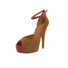 "MARILYN-05 Wholesale Women's ""Mixx Shuz"" High Heel with Ankle Strip Sandal ( *Camel Color ) *Last Case"