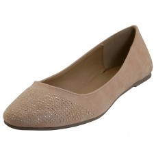 "MEENA-NUDE Wholesale Women's ""Angeles Shoes"" Micro Fiber Ballet Flat Shoes ( *Nude Color )"